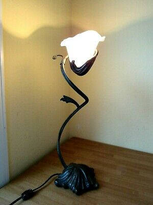 "Art Deco Nouveau Swirling Lily Lamp Antiqued Bronze Finish Solid Metal 23"" Tall"