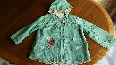 Girls Next size 3/4 yrs green jacket chickens zip fasten Gorgeous
