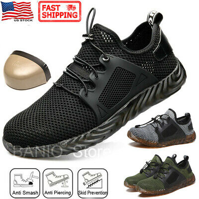 Mens Mesh Safety Shoes Steel Toe Work Boots Indestructible Lightweight Sneakers