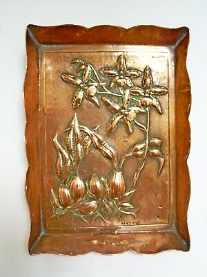 C19TH SUPERB ANTIQUE ARTS & CRAFTS REPOUSSE COPPER VISITING CARD TRAY Rd 92155