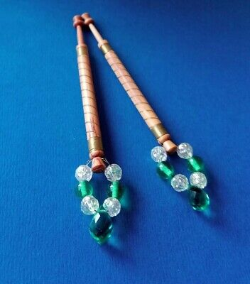 Pair Wood Lace Bobbins. Wired in Brass. Spangles.
