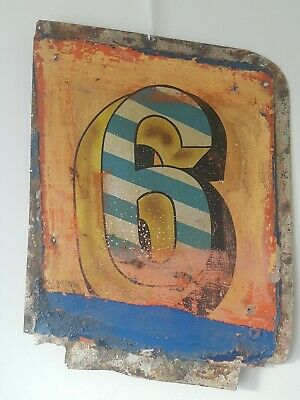 Vintage Bumper Car Panel Hand painted Sign Number Six 6 typography Not Enamel