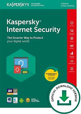 Kaspersky Internet Security 2019 1 Dispositivo 1 Anno PC/Mac / Android Download
