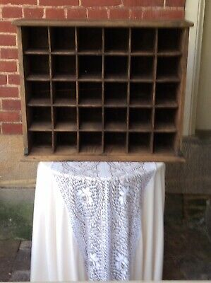 Antique Primitive Wood Post Office Mail Slot Cabinet Apothecary Cabinet AAFA
