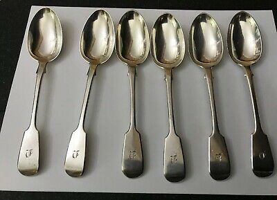 Antique Hallmarked London 1868 GA HM Solid Silver Fiddle Dessert Spoons 280g