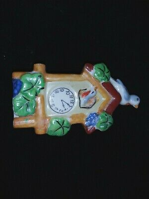 Vintage Ceramic Clock Wall Pocket with Birds Marked Japan 5 in tall by 3 in wide
