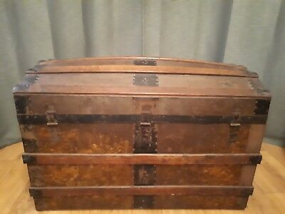 Victorian wooden travel trunk