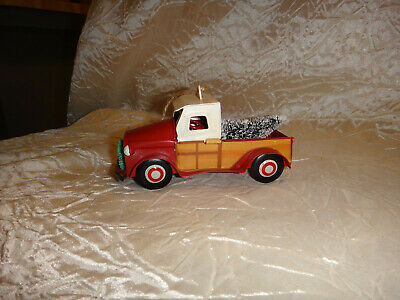 Red Metal Pick Up Truck Christmas Tree Ornament w/ Bottle Brush Tree