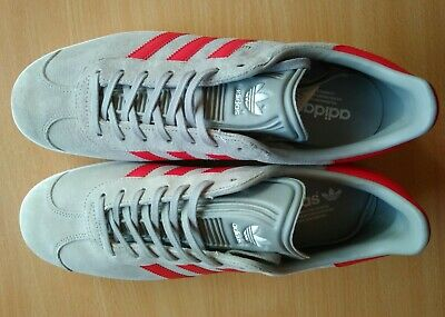 Adidas Originals Gazelle BB5257 leather suede trainers grey red mens sz uk 10