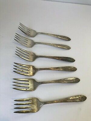 National Silver Co. A1 Forks Vintage Qty 6 Kitchen Silverware