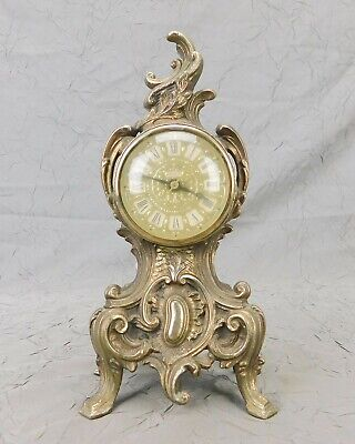 Vintage Louis XV French Style Gold Electric Mantel Desk Clock Clean Working Used
