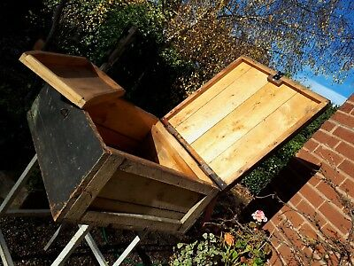 Nice large old wooden toolbox box chest coffee table with internal tray