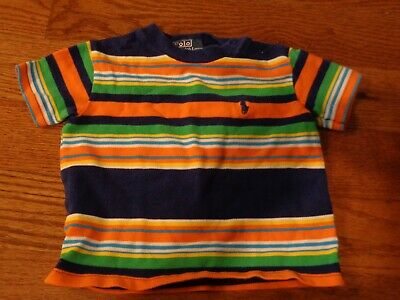 NWOT Ralph Lauren 12M Stripe shirt Fun bright colors navy pony snaps at shoulder