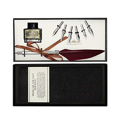 Feather Quill Pen Set - Dip Pen with Ink and 6pcs - Calligraphy Pen in Gift Box