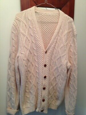 Vintage Wool Chunky Cardigan,18,Cable Knit,Hand Knitted,Wooden Buttons,Cream