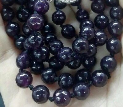 "Natural Purple Grape Garnet 145cts 8mm Round Faceted Bead Necklace 19.25""L 38g"