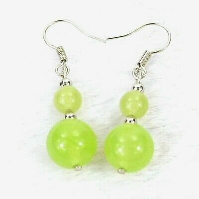 """Malay Light Green Jade 10 & 6mm Round Gem Bead Silver-Plated Earrings 1.5""""L 4.6g"""