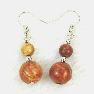"""Natural Picasso Jasper 10 & 6mm Round Gem Bead Silver-Plated Earrings 1.5""""L 4.6g"""