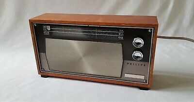 Original Vintage C1950'S Philips Philadelphia Wooden Boxed Am Radio - Working