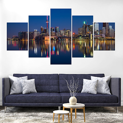 Toronto Skyline Cityscape Canva Print Painting Framed Home Deco Wall Art Picture