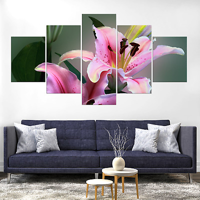 Blooming Pink Lily Lilies Flower Canva Print Painting Home Deco Wall Art Picture