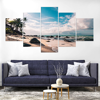 Seascape Beach Sea Canva Print Painting Framed Home Deco Wall Art Picture Poster
