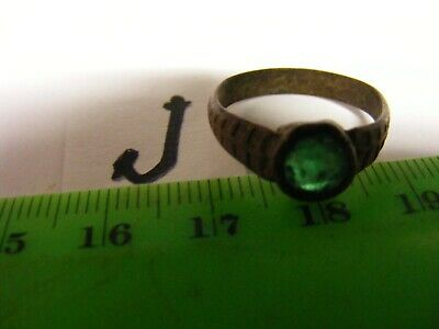 "Ancient  Bronze Ring,,17mm..European but origin unknown.,.with green ""stone""(J)"