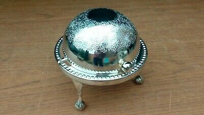Vintage Silver Plate Globe Shaped Sugar Bowl