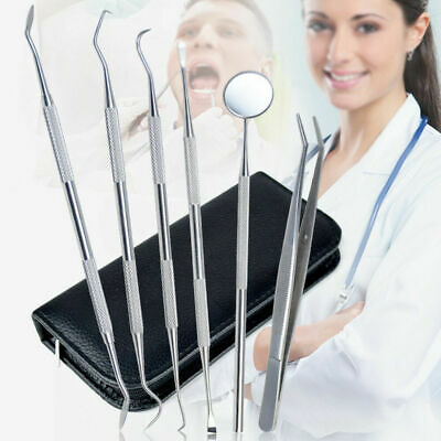 6 Pc Dental Tooth Pick Probe Set Kit Teeth Clean Hygiene Tools Stainless Steel