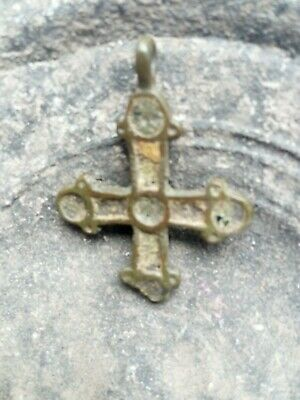 ANTIQUE MEDIEVAL 10-13th CENTURY VIKING-AGE BRONZE CROSS INLAID with ENAMEL