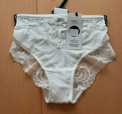M&S Sizes 16 18 26 Sophia Lace Collection Brazilian Knickers Bnwt White
