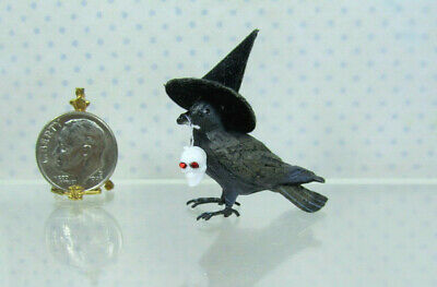 Dollhouse Miniature Black Resin Crow or Raven w/ Witch Hat & Tiny Skull in Beak