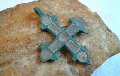 ANTIQUE c.10-13th CENTURY VIKING-AGE LARGER BRONZE CROSS with ENAMEL INLAYS