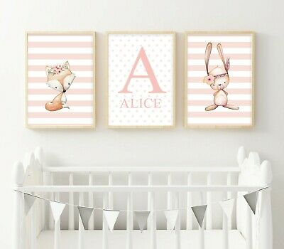 Peter Rabbit Personalised Name Baby Nursery Decor Print Set