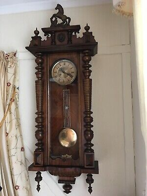 Elegant Vienna Long Cased Clock With Original Horse Top And Gong Strike