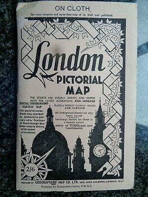 Late 1940's LONDON PICTORIAL MAP on Cloth Geographers by Gross - Fine Condition