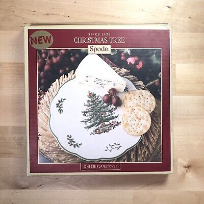 """Spode Christmas Tree 9"""" Cheese Plate Trivet Serving Dish Original Box Plate Only"""