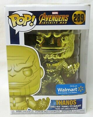 Funko Pop Marvel Avengers Endgame #415 Thanos Yellow Chrome Walmart Vinyl Figure