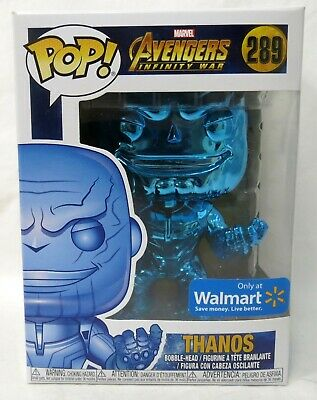 Funko Pop Marvel Avengers Endgame #415 Thanos Blue Chrome Walmart Vinyl Figure