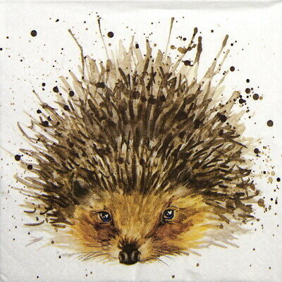 4x Paper Napkins for Party, Decoupage - Cute Hedgehog