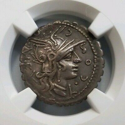 Cosconius Roman Republic BC NGC XF Denarius Serratus Licinius Domitius Narbo