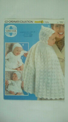 Vintage Knitting Pattern Sirdar 132 Baby Coat Cape and Hat