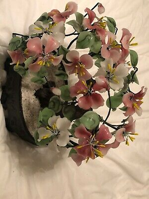 Vintage Oriental Bonsai Tree Glass Flowers and Leaves  Asian Chinese Plant FINE