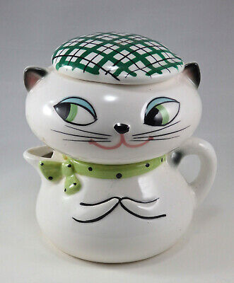 1959 Holt Howard Cool Cozy Cat Stacking Sugar And Creamer With Hat Lid Nice No R