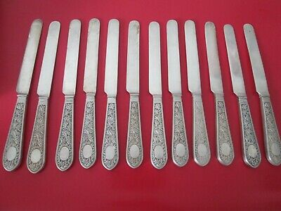 Rare Set 12 - Antique 19th C - CHINESE EXPORT - Solid SILVER - 8 in TEA KNIVES