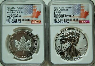 2019 Pride of Two Nations 2pc US Set NGC PF 69 ER Flags Label and OGP
