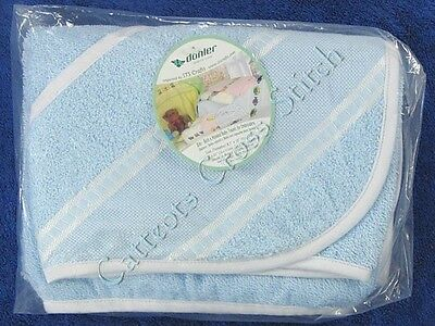"Cross Stitch Hooded Baby Bath Towel Blue with White Edging Cotton Terry 30""x30"""
