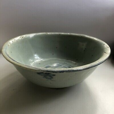 Small Chinese Ming Swatow Blue Crackle Glaze Porcelain Bowl 16th or 17th Century