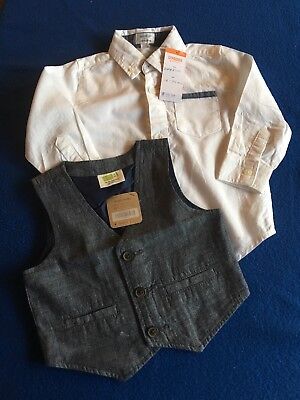 NWT Gymboree 18-24 Months White Shirt And Blue Chambray Vest Set