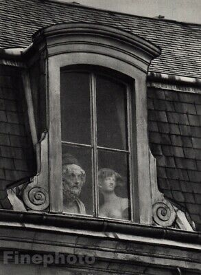 1928/72 Vintage WINDOW QUAI VOLTAIRE Paris Statue Photo Art By ANDRE KERTESZ